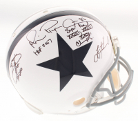 Troy Aikman, Emmitt Smith & Michael Irvin Signed Dallas Cowboys Full-Size Authentic On-Field Throwback Helmet with Multiple Inscriptions (JSA COA)