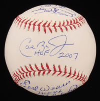Baltimore Orioles Hall Of Famers OML Baseball Signed by (6) with Jim Palmer, Cal Ripken Jr, Brooks Robinson, Eddie Murray, Earl Weaver with (6) Inscriptions (JSA COA)