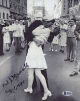 """Carl J. Muscarello Signed """"V-J Day in Times Square"""" 8x10 Photo Inscribed """"Aug 14, 1945"""" (Beckett COA) at PristineAuction.com"""