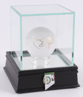 Larry Bird Signed Lead Crystal Mini-Basketball with Display Case (PSA COA)