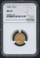 1929 $2.50 Indian Quarter Eagle Gold Coin (NGC MS 63)