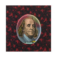 "Steve Kaufman Signed ""Old Ben Franklin"" Hand Painted Limited Edition 24x26 Silkscreen on Canvas with Python Pattern Fabric Background #23/100 at PristineAuction.com"