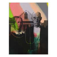 """Steve Kaufman Signed """"American Gothic"""" Hand Painted Limited Edition 36x48 Silkscreen on Canvas from an HC Edition"""