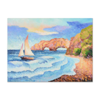 "Alexander Antanenka Signed ""Sailing By the Coast"" 40x30 Original Oil Painting on Canvas at PristineAuction.com"