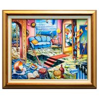 "Alexander Astahov Signed ""Book Writer"" 25x21 Custom Framed Original Oil on Canvas at PristineAuction.com"