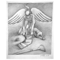 """Mark Kostabi Signed """"Divine Intervention"""" 13x10 Original Artwork at PristineAuction.com"""