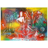 "Mark Kostabi Signed ""Afternoon Fantasy"" 29x42 Original Artwork at PristineAuction.com"