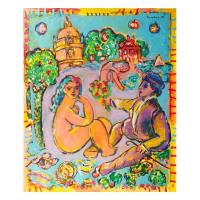 "Wayne Ensrud Signed ""Artist and Model at Chateau Latour"" 36x30 Acrylic Original Artwork"