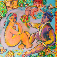"Wayne Ensrud Signed ""Artist and Model at Chateau Latour"" 36x30 Acrylic Original Artwork at PristineAuction.com"