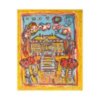 """Wayne Ensrud Signed """"Chateau Margaux"""" 32x26 Acrylic Original Artwork"""