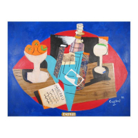 "Wayne Ensrud Signed ""Still Life with Lafite-Rothschild Label"" 24x31 Mixed Media Original Artwork at PristineAuction.com"