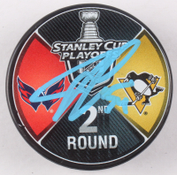 John Carlson Signed 2018 Stanley Cup Playoffs Logo Hockey Puck (Fanatics Hologram)