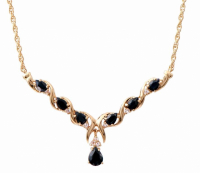 6.86 CT Black Sapphire & Diamond Elegant Necklace