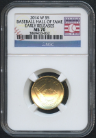 2014-W Gold $5 Baseball Hall of Fame Gold Coin - Early Releases (NGC MS 70) at PristineAuction.com