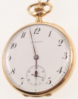 1907 14kt Yellow Gold E. Howard Co Pocket Watch with Display Case at PristineAuction.com