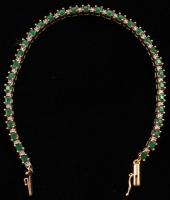 10k Yellow Gold Emerald & Diamond Bracelet at PristineAuction.com