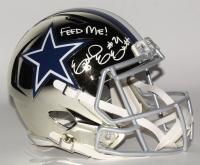 "Ezekiel Elliott Signed Dallas Cowboys Full-Size Chrome Speed Helmet Inscribed ""Feed Me!"" (Radtke COA) at PristineAuction.com"