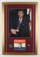 John F. Kennedy 18x27 Custom Framed Photo Display with (3) Campaign Items