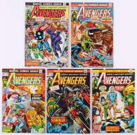 """Lot of (5) 1974 """"The Avengers"""" 1st Series Marvel Comic Books with #120, #121, #122, #123 & #124"""