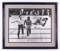 "Muhammad Ali, Joe Frazier, & Arthur Mercante Sr. Signed ""Fight of the Century"" 22x26 Custom Framed Photo (JSA ALOA) at PristineAuction.com"