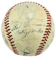 1951 World Series Champions New York Yankees OAL Baseball Team-Signed by (25) with Mickey Mantle, Yogi Berra, Phil Rizzuto, Ed Lopat (JSA LOA)