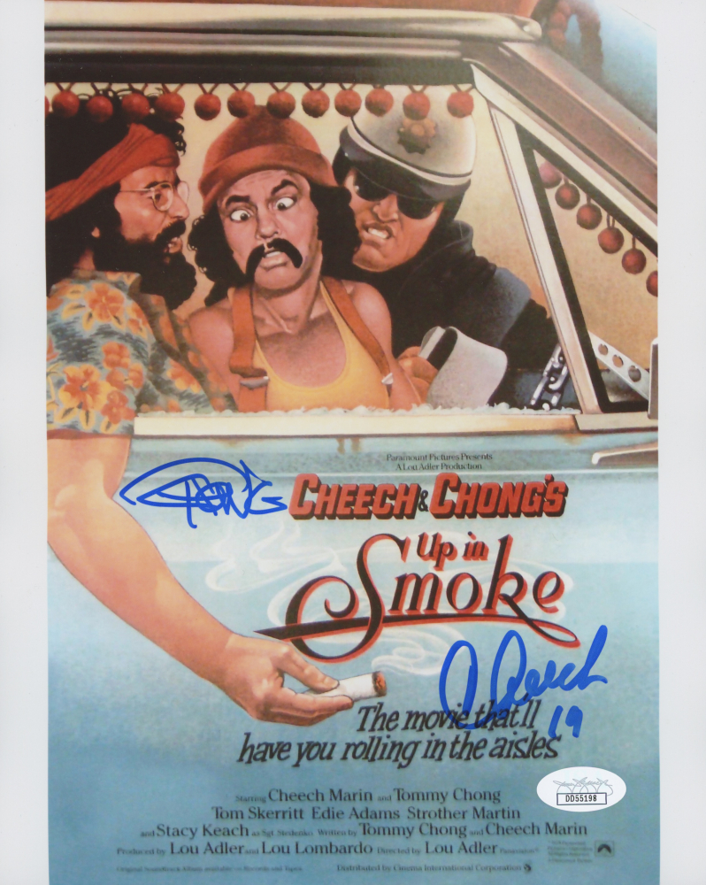 "Tommy Chong & Cheech Marin Signed ""Up in Smoke"" 8x10 Photo Inscribed ""19"" (JSA COA) at PristineAuction.com"