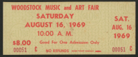 Woodstock Authentic Unused One-Day Ticket From August 16, 1969