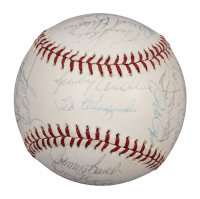 1975 Cincinnati Reds World Series Champions ONL Baseball Team-Signed by (23) with Joe Morgan, Johnny Bench, Sparky Anderson, Tony Perez, Pete Rose (JSA LOA)