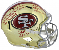 Jerry Rice Signed San Francisco 49ers Full-Size Chrome Speed Helmet with (7) Career Stat Inscriptions (Beckett COA)