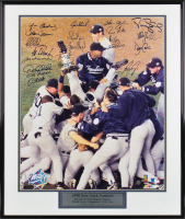 1998 New York Yankees World Series Champions LE 16x20 Custom Framed Photo Team-Signed by (21) with Derek Jeter, Joe Torre, Mariano Rivera, Jorge Posada, Bernie Williams (JSA LOA)