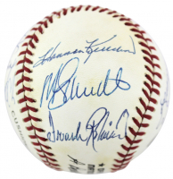 """500 Home Run Club ONL Baseball Signed by (12) with Ted Williams, Hank Aaron, Willie Mays, Eddie Mathews, Reggie Jackson Inscribed """"504 HRs"""" (JSA LOA) at PristineAuction.com"""