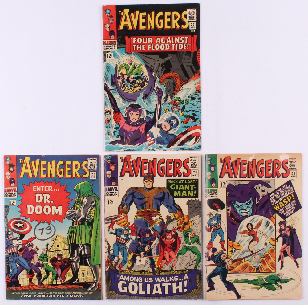 """Lot of (4) 1966 """"The Avengers"""" 1st Series Marvel Comic Books with #25, #26, #27 & #28 at PristineAuction.com"""
