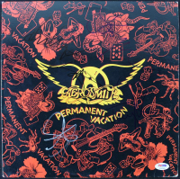 "Aerosmith ""Permanent Vacation"" Vinyl Record Album Cover Band-Signed by (5) with Steven Tyler, Joe Perry, Joey Kramer, Brad Whitford & Tom Hamilton (PSA LOA)"