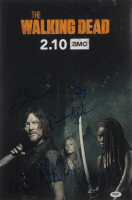 """""""The Walking Dead"""" 12x18 Photo Cast-Signed by (7) with Norman Reedus, Jeffrey Dean Morgan, Cailey Fleming, Avi Nash Inscribed """"XO"""" (PSA LOA) at PristineAuction.com"""