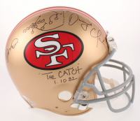 "Joe Montana & Dwight Clark Signed 49ers Full-Size Authentic On-Field Helmet Inscribed ""The Catch"" & ""1.10.82"" with Hand-Drawn Play (Beckett COA) at PristineAuction.com"