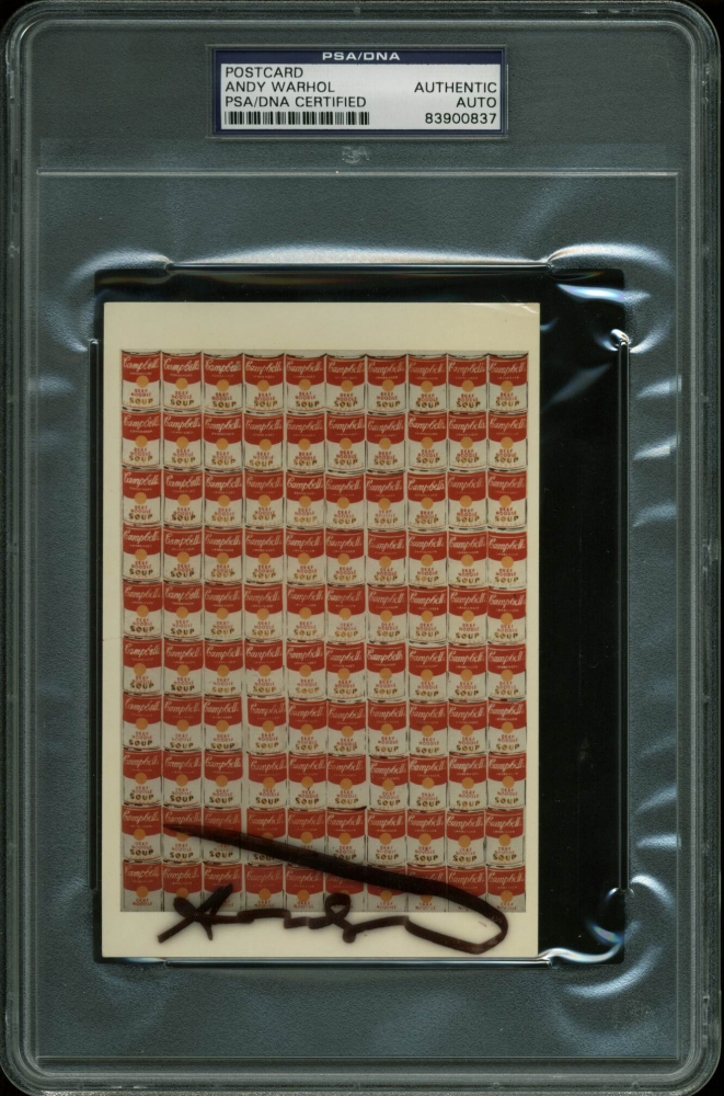 "Andy Warhol Signed ""Campbell's Soup"" 4x6 Postcard (PSA Encapsulated) at PristineAuction.com"