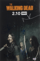 """""""The Walking Dead"""" 12x18 Photo Cast-Signed by (7) with Norman Reedus, Ryan Hurst, Cailey Flemming Inscribed """"XO"""" (PSA LOA) at PristineAuction.com"""