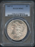 1887-S $1 Morgan Silver Dollar (PCGS MS 62) at PristineAuction.com
