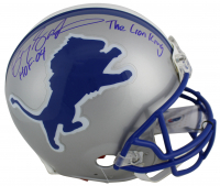 "Barry Sanders Signed Detroit Lions Full-Size Authentic On-Field Helmet Inscribed ""HOF 14"" & ""The Lion King"" (Beckett COA & Schwartz Sports COA)"