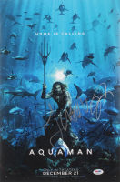 """Aquaman"" 12x18 Poster Cast-Signed by (4) with Jason Momoa, Amber Heard, Patrick Wilson & James Wan (PSA LOA) at PristineAuction.com"