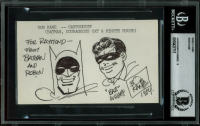 "Bob Kane Signed 3x5 Index Card Inscribed ""From Batman and Robin"", ""1984"" & ""Bats Wishes"" with Hand-Drawn Sketch (BGS Encapsulated)"