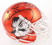 "Barry Sanders Signed Oklahoma State Cowboys Orange Chrome Full-Size Authentic On-Field Helmet Inscribed ""Heisman 88"" (Beckett COA & Schwartz Hologram) at PristineAuction.com"