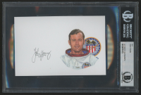"John Young Signed ""Apollo 16"" 4x6 Cut (BAS Encapsulated)"