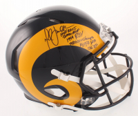 Marshall Faulk Signed St. Louis Rams Color Rush Full-Size Authentic On-Field Speed Helmet with Multiple Career Stat Inscriptions (Beckett COA) at PristineAuction.com