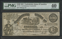 1861 $100 One Hundred Dollars Confederate States of America Richmond CSA Bank Note Bill - Contemporary Counterfeit (CT-13) (PMG 40) at PristineAuction.com