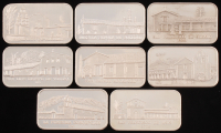 Set of (8) Vintage 1970's 1 Troy Ounce .999 Fine Silver California Missions Bullion Bars at PristineAuction.com