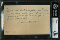 Claude Monet Signed 4.5x6.75 Handwritten Letter (BGS Encapsulated)