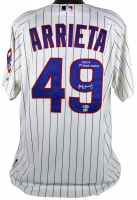 "Jake Arrieta Signed Chicago Cubs Game-Used Jersey Inscribed ""9/16/14 1st Career Shutout"" (Beckett COA & MLB Hologram) at PristineAuction.com"