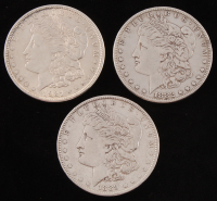 Lot of (3) Morgan Silver Dollars with 1882, 1889, & 1921