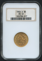 1902-S $5 Five Dollars Liberty Head Half Eagle Gold Coin (NGC MS 61) at PristineAuction.com